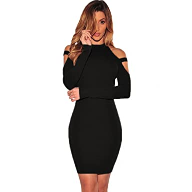 8dc219e5db84 Women s Sexy Halter Long Sleeve Off Shoulder Bodycon Party Club Midi Dress  Black