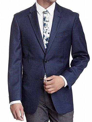 Tommy Hilfiger Mens 2 Button Side Vent Trim Fit 100% Wool Suit Separate Coat,  Blue, 40 Short