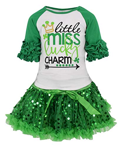 Unique Baby Girls St Patrick's Day Lucky Charm Skirt Set (2T/XS, Green) (Patricks Day Girls Clothes St)