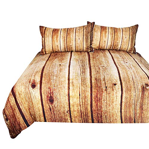 BlessLiving Wood Grain Bedding 3 Piece Rustic Old Oak Duvet Cover Dark Brown Antique Wooden Bed Set (Twin)