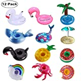 FOMAN Inflatable Drink Holder 12 Pack, Floats Inflatable Cup Coasters for Summer Pool Party and Kids Fun Bath Toys[Newest Type Mermaid&Whale]