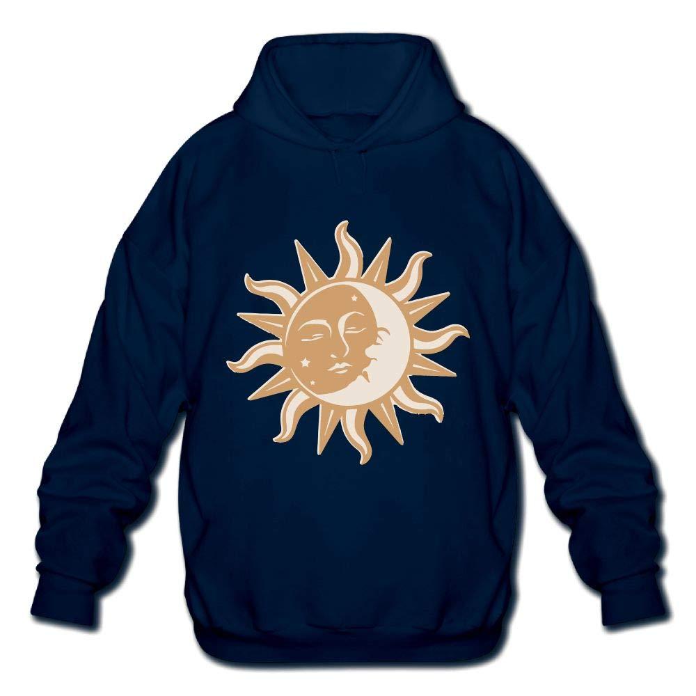 Sun Moon Brown Mens Printed Hooded Sweatshirt Hoodie