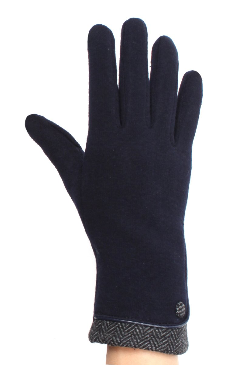 LL Womens Texting Gloves Navy Herringbone Trim Button Lined Small Medium