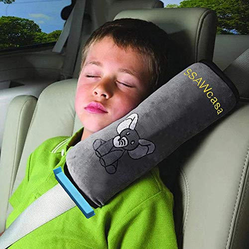 SSAWcasa Seatbelt Pillow for Kids,Car Seat Belt Cover,Vehicle Shoulder Pads,Safety Belt Protector Cushion,Plush Soft Auto Seat Strap Headrest Neck Support Pillow for Children Baby (Gray) (Animal)