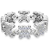 EVER FAITH Sterling Silver 925 Full Pave CZ Lovely Bear Lady Ring Clear - Size 7