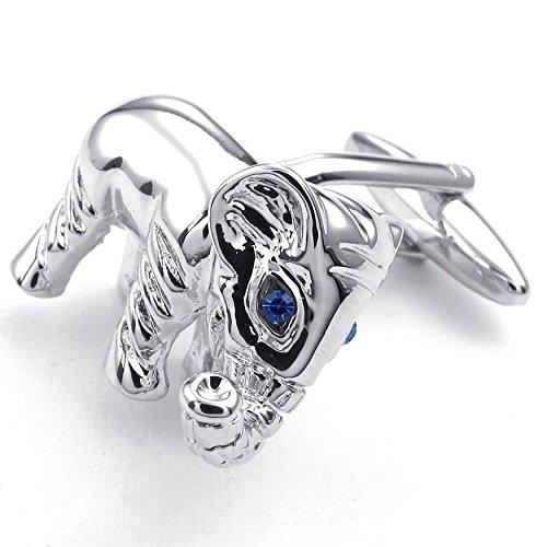 AnaZoz Rhodium Plated Silver Blue Elephant Cubic Zirconia Shirts Cufflinks 2pcs Men's Cuff Links Jewelry