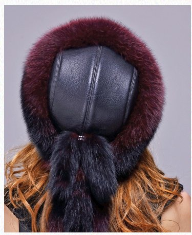 URSFUR Fox Fur Roller Hat with Leather Top and Tails (One Size Fits All, Black & Red) by URSFUR (Image #7)