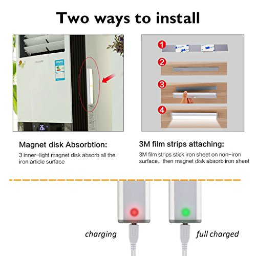 Under Cabinet Lights Closet Lights Motion Sensor 18 LEDs USB Rechargeable Wireless Under Cabinet Lighting,Magnetic Stick On Anywhere LED Night Lights for Closet/Drawer/Cupboard,White Light,2 Pack by LEPOTEC (Image #6)