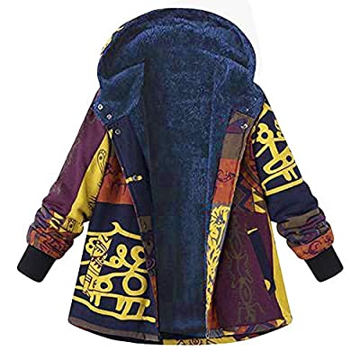 TnaIolr Women Winter Coat Loose Cotton Warm Printed Coat Pockets Thicker Hasp Hooded Coat Outwear