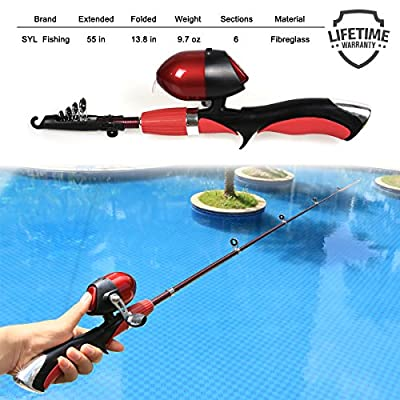 Kids Fishing Pole Spincast Reel Easiest Kids Fishing Rod 55 inches with Tackles Ready to Go