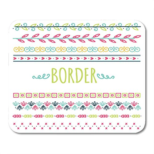Kid Drawn Border - Boszina Mouse Pads Cute Girly of Colorful Hand Drawn Border Kids Drawing Mouse Pad for notebooks,Desktop Computers mats 9.5