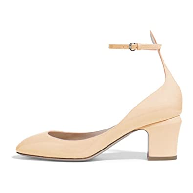 c88fec0da7e FSJ Women Retro Ankle Strap Mid Heels Dress Pumps Almond Toe Patent Leather  Shoes Size 4