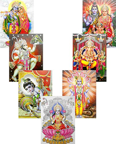 Wholesale Lot of 10 Hindu Gods and Goddess Glitter Posters : Size - 5x7 Inches