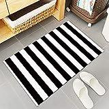 black and white kitchen Black and White Stripes Fabric Door Mat Rug Indoor/Outdoor/Front Door/Shower Bathroom Doormat, Non-Slip Doormats, 18-Inch by 30-Inch
