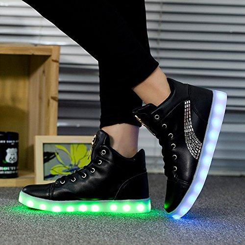 Up Casual Luminous Colors Led USB Led Charging Women Light glow Black Shoes 11 Light 5rxIH5