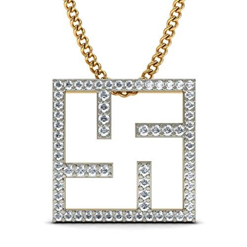 14K Or jaune 0,47carat au total Round-cut-diamond (IJ | SI) Pendentif