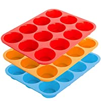 12-Cup Silicone Muffin & Cupcake Baking Pan, YuCool 3 Pack Silicone Molds for Muffin Tins, Cakes, Non-stick Mould (Orange, Red, Blue)