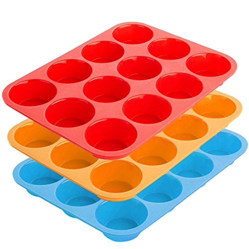 12-Cup Silicone Muffin & Cupcake Baking Pan, YuCool 3 Pack Silicone Molds for Muffin Tins, Cakes, Non-stick Mould (Orange, Red, Blue) (Flexible Muffin Mold)