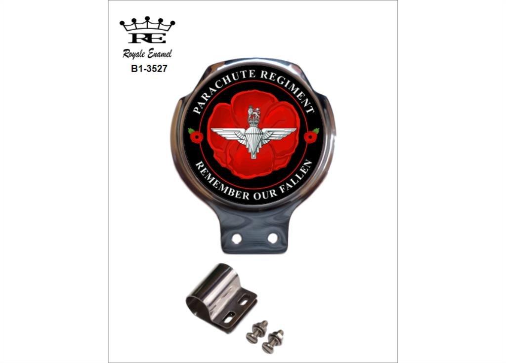 ROYALE ENAMEL ROYALE CAR SCOOTER BAR BADGE 3527 PARACHUTE REGIMENT POPPY REMEMBER OUR FALLEN B1