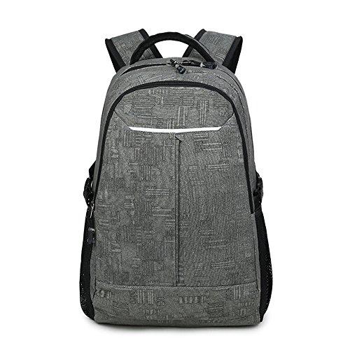 Lienzo escuela Colegio mochila mochilas deportes viaje mochila para estudiantes/niños/hombres Gris oscuro