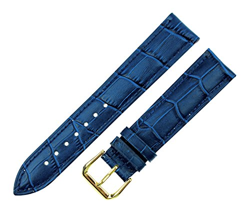 - RECHERE Alligator Crocodile Grain Leather Watch Band Strap Gold Pin Buckle Color Blue (Width 12mm)