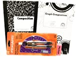 Purple Metal Protractor And Graph Book Bundle