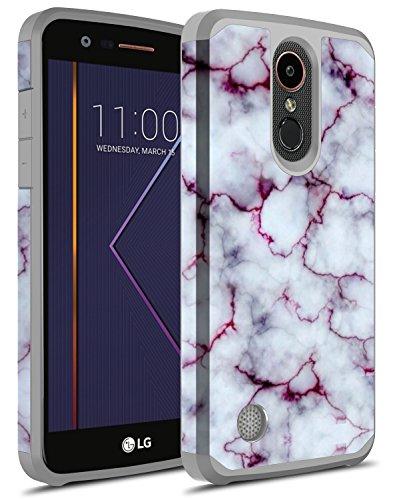 LG K20 Plus Case, LG K20 V Case, LG K20 Case, LG Harmony Case, LG Grace Case, Rosebono Hybrid Dual Layer Shockproof Hard Cover Graphic Colorful Silicone Skin Case for LG LV5 (Pluple Marble)