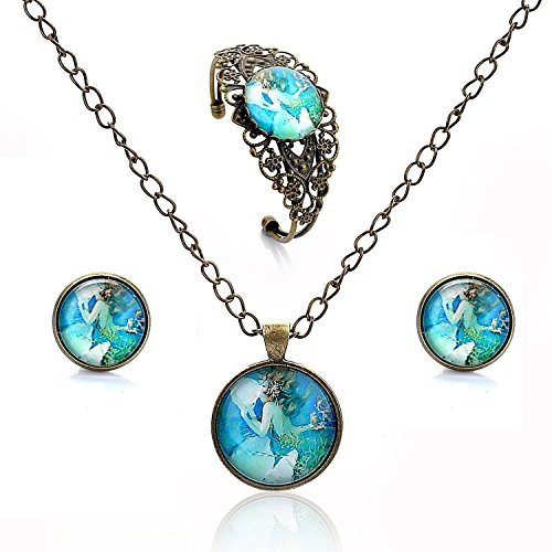 Lureme Time Gem Series Disc Charm Stud Earrings Hollow Flower Open Bangle Bracelet and Pendant Necklace Jewelry Sets for Women and Girls (09000441) (Mermaid Princess)