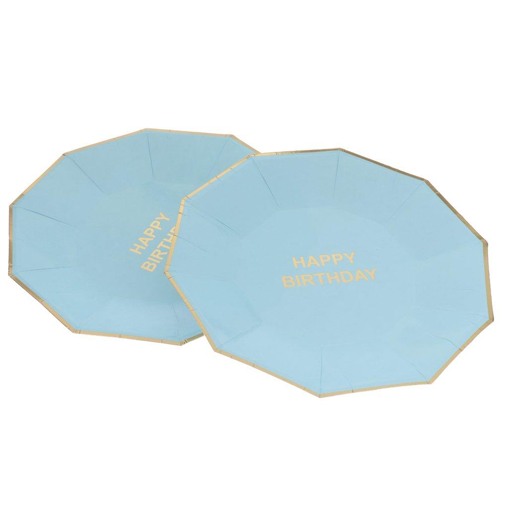 Bleu 18cm MagiDeal 8pcs Assiette Jetable HAPPY BIRTHDAY en Papier Bordure Dor/é Accessoire pour Anniversaire
