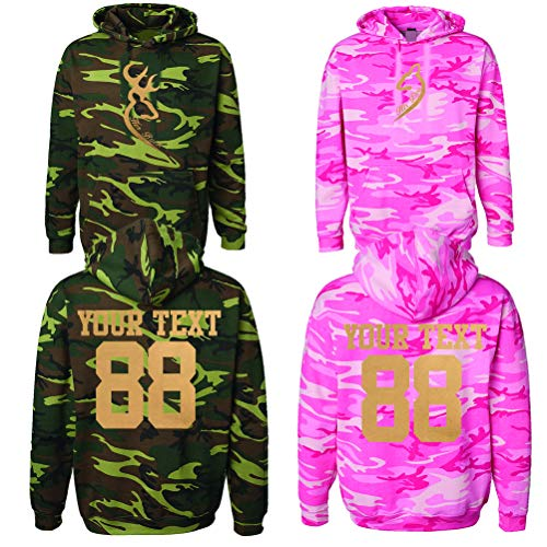 Her Buck his doe Custom Couple Camouflage Hoodies Customized Names and Numbers for him and her Personalized Matching Couples