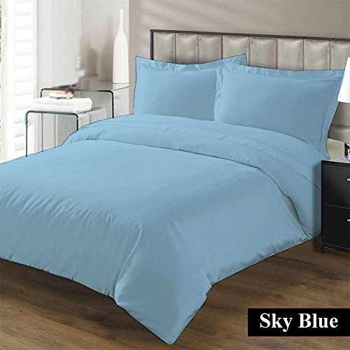 Hotel Collection Premium Duvet Cover with Zipper Closure 100% Egyptian Cotton Luxurious and Hypoallergenic 600 Thread Count Ultra Soft By Kotton Culture ( Twin/Twin-XL, Sky Blue ) (Twin Cover Duvet Medallion)