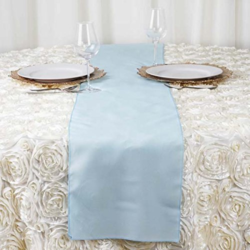 Efavormart Light Blue Premium Polyester Table Top Runner for Weddings Birthday Party Banquets Decor Fit Rectangle and Round Table