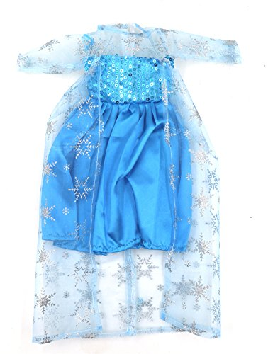 [Bitty Baby Doll Princess Dresses Clothes, AOFUL Frozen Long Sleeve Blue Ice Snow Cosplay Outfit Fits 16'' 18