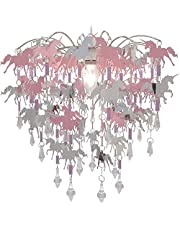 Eenhoorn kinderen plafondverlichting slaapkamer kroonluchter roze paars en zilver licht schaduw lamp plafond hanglamp schaduw kleuterschool kinderkamer
