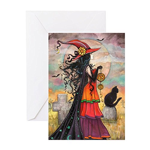 CafePress - Witch Way Halloween Witch Art Greeting Cards - Greeting Card (10-pack), Note Card with Blank Inside, Birthday Card -