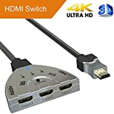 Goronya 3 Port HDMI Switch 3x1 Auto Switch with 1.4 Version Supports Full HD 4K 1080P 3D Player