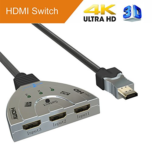 Goronya 3 Port HDMI Switch 3x1 Auto Switch with 1.4 Version Supports Full HD 4K 1080P 3D - Pigtail Springs