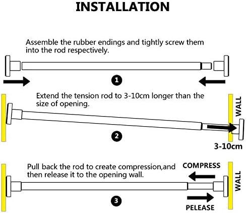 Lenth1: 50-75cm HBselect Duschvorhangstange Teleskopstange von Ganzmetall 304 Rostreier Stahl ohne Bohren zum Einklemmen als Duschstange Kleiderstange Vorhangstange Spannstange Drehen zu verstellen