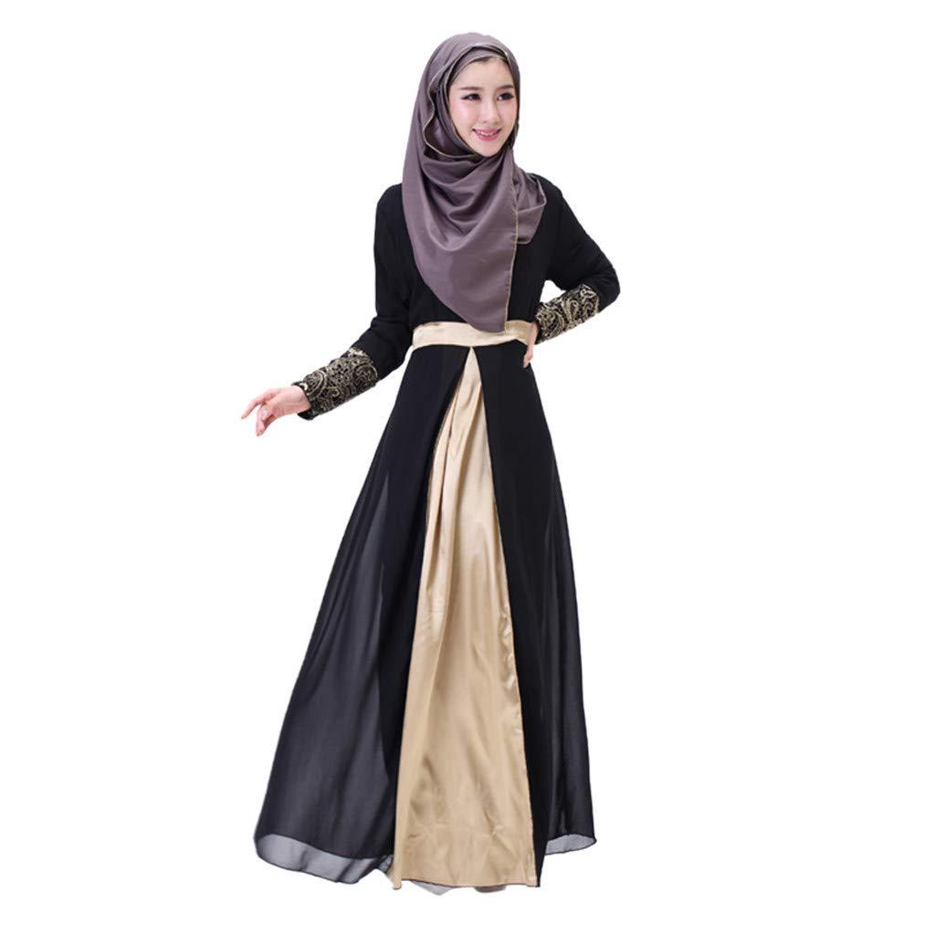 ab05ed7016c Amazon.com  Dainzuy Women Muslim Dress Dubai Kaftan Long Sleeve Maxi  Dresses Dubai Patchwork Gown Islam Abaya Muslim Clothing  Clothing
