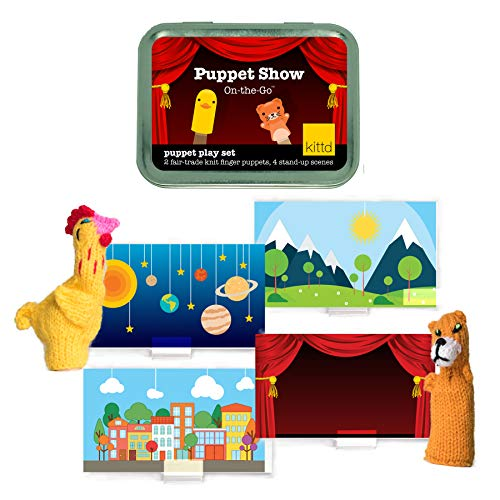 KITTD Puppet Show On-The-Go Travel Finger Puppet Theater Playset