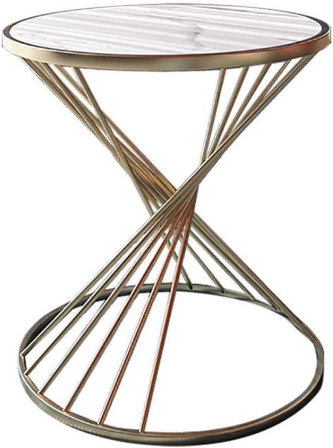 Koop Het Beste Huahua Furniture Bijzettafel, marmer, kleine salontafels, moderne ronde bank, hoektafel, metalen frame, bijzettafel voor woonkamer, lounge, startpagina wit 2yhmARK