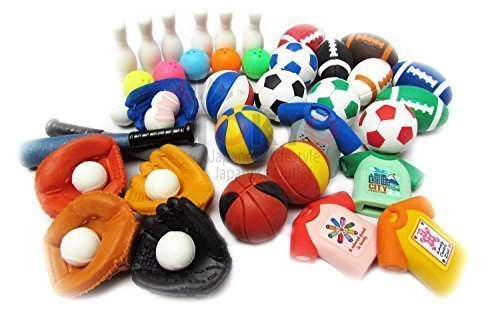 IWAKO 10 of Assorted Sports Japanese Erasers (10 erasers will be randomly selected from the image shown) (Sports Collection)
