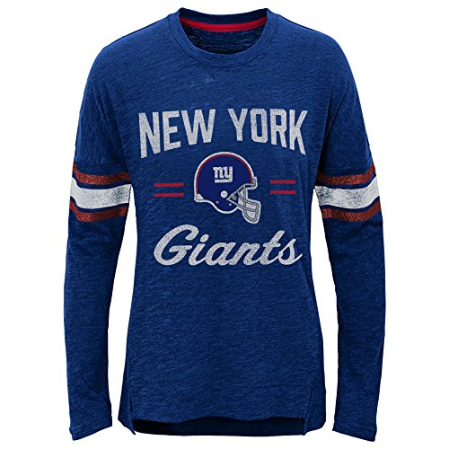 Outerstuff NFL New York Giants Youth Boys Team Captain Long Sleeve Slub Tee Dark Royal, Youth Small(7-8)