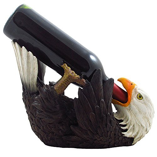 Drinking Bald Eagle Wine Bottle Holder in American Patriotic Bar Decor, Bird Wine Stand Statues, Wine Rack Sculptures and Figurines by Home-n-Gifts