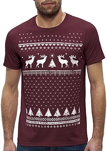 Maroon Great Novelty Alternative to The Christmas Jumper Mens Reindeer T-Shirt