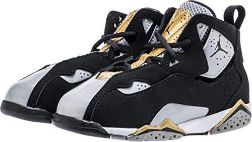 JORDAN Toddler True Flight BT Black Black Wolf Gry Mtlc Gold Size 6