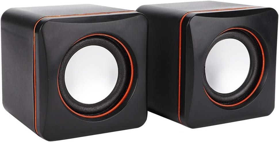 Bewinner Computer Speaker Mini USB Speaker Desktop Stereo Mini Portable Gaming Speakers 3.5mm Jack Wired Speaker for Laptop PC Computer(Black)