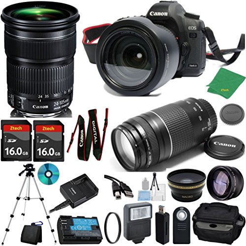 Canon EOS 5D Mark III with 24-105mm IS STM + 75-300mm III + 2pcs 16GB Memory + Case + Memory Reader + Tripod + Starter Set + Wide Angle + Telephoto + Flash + Filter - International Version