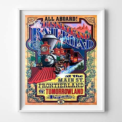 Disneyland Railroad at Main St Frontierland Tomorrowland Wall Art Poster Home Decor Print Vintage Artwork Reproduction - Unframed