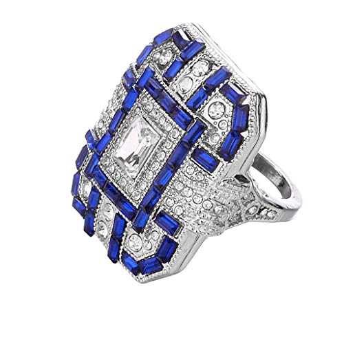 Aunimeifly Deals Rings,Women's Fashion Women Crystal Silver Cubic Zirconia Band Ring Jewelry Gift